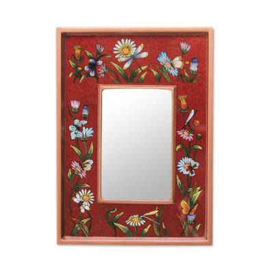 Reverse painted glass mirror, 'Scarlet Fields' - Modern Andean Hand Painted Wall Mirror