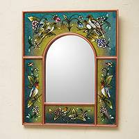 Reverse painted glass mirror, 'Songbirds on Teal' - Teal Reverse Painted Glass Wall Mirror with Birds