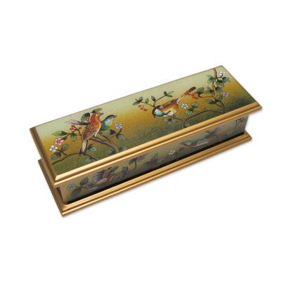 Reverse painted glass box, 'Songbird Haven' - Andean Artisan Crafted Reverse Painted Glass Box with Birds
