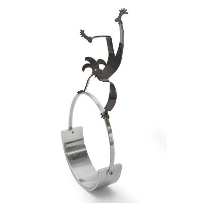 Steel statuette, 'Harlequin's Balancing Act' - Circus Act Steel Sculpture Signed by Artist in Peru