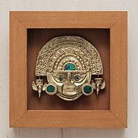 Papier mache and chrysocolla shadow box mask, 'Tumi' - Golden Inca Dagger Mask Shadow Box with Chrysocolla