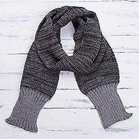 Men's 100% alpaca scarf, 'Black Knight' - 100% Black Grey Soft Alpaca Scarf for Men from Peru