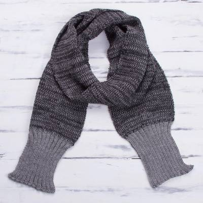 Men's 100% alpaca scarf, 'Black Knight' - 100% Black Grey Soft Alpaca Scarf for Men from Peru
