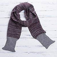 Men's 100% alpaca scarf, 'Dark Red Knight' - Red and Grey Scarf for Men in Genuine Alpaca