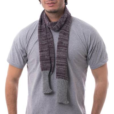 Red and Grey Scarf for Men in Genuine Alpaca