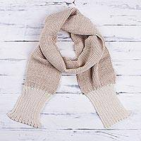 Men's 100% alpaca scarf, 'Beige Knight' - Men's Hand Made Scarf in Beige and Ivory