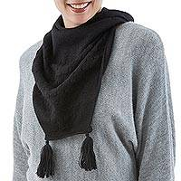 100% alpaca neck warmer, 'Cascading Black' - 100% Alpaca Soft Neck Warmer with Tassels from Peru
