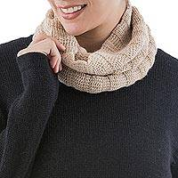 100% alpaca neck warmer, 'Andean Beige' - Soft 100% Alpaca Beige Neck Warmer Hand Knit in Peru