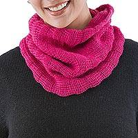 100% alpaca neck warmer, 'Andean Fuchsia' - Soft 100% Alpaca Turtleneck Style Neck Warmer from Peru
