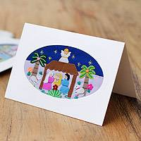 Applique Christmas greeting cards, 'Palm Nativity' (set of 5) - Hand Crafted Applique Peruvian Christmas Cards (Set of 5)