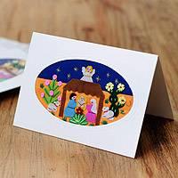 Applique Christmas greeting cards, 'Cacti Nativity' (set of 5) - Peruvian Arpillera on Christmas Greeting Cards (Set of 5)