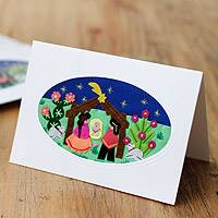 Applique Christmas greeting cards, 'Andean Nativity' (set of 5) - Hand Crafted Applique Peruvian Christmas Cards (Set of 5)