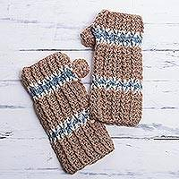 100% alpaca fingerless mittens, 'Andean Land' - Alpaca Mittens Hand Knit Fingerless Gloves from Peru