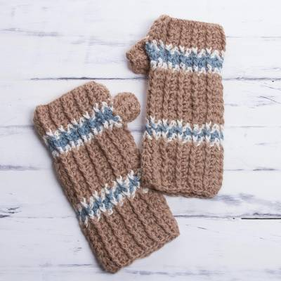 100% alpaca fingerless mitts, 'Andean Land' - Alpaca Mittens Hand Knit Fingerless Gloves from Peru