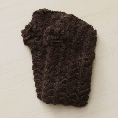 100% alpaca fingerless mitts, 'Chocolate Warmth' - Handcrafted Peruvian Brown Alpaca Fingerless Mittens