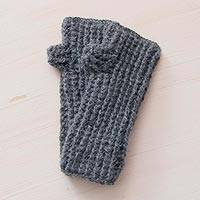 100% alpaca fingerless mittens, 'Andean Clouds' - Handcrafted Peruvian Alpaca Wool Grey Fingerless Mittens