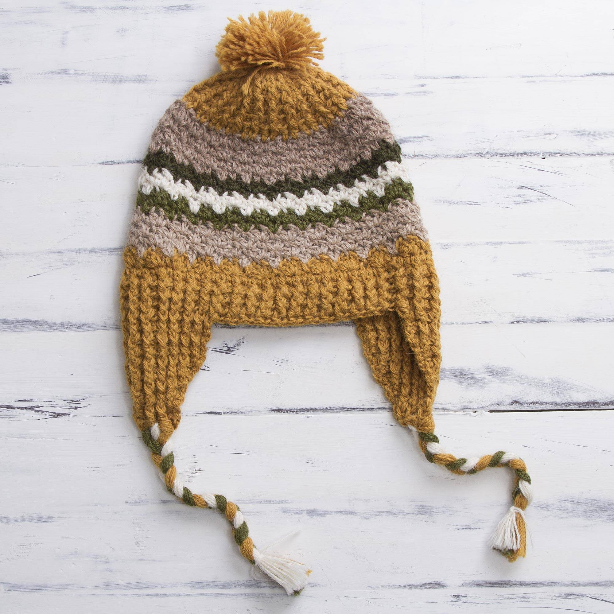 be1b04816 Hand Knit Alpaca Patterned Chullo Hat with Earflaps, 'Andes Charisma'