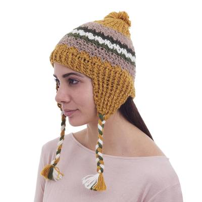 100% alpaca chullo hat, 'Andes Charisma' - Hand Knit Alpaca Patterned Chullo Hat with Earflaps