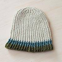 100% alpaca hat, 'Nature Ahead' - 100% Alpaca Knit Hat with Multicolor Bottom Border