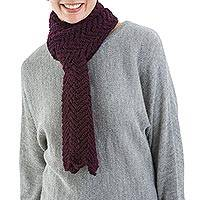 100% alpaca scarf, 'Sweet Elegance' - Alpaca Hand Knitted Burgundy Scarf from Peru
