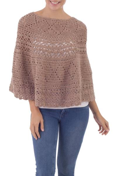 Alpaca Hand Knitted Beige Poncho with Multiple Patterns