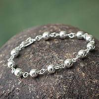 Sterling silver beaded bracelet, 'Glow' - Handcrafted Sterling Silver Beaded Bracelet from Peru