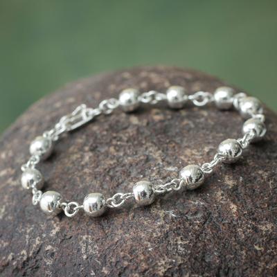 Sterling silver beaded bracelet, 'Glow' - Handcrafted Silver 950 Beaded Bracelet from Peru