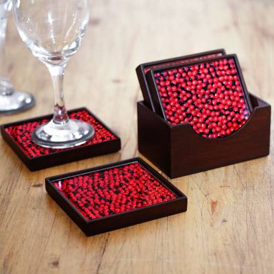 Wood and glass coasters, 'From the Jungle, its Fruit' (set of 4) - Peruvian Handcrafted Wood and Glass Coasters (Set of 4)