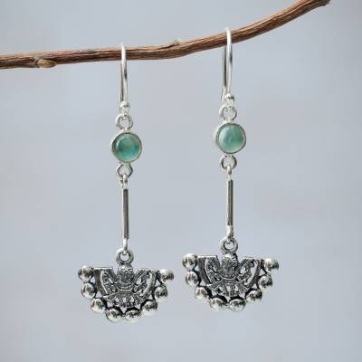 Opal dangle earrings, 'Inca Iridescent' - Inca Glyph Earrings with Andean Opal and 925 Sterling Silver