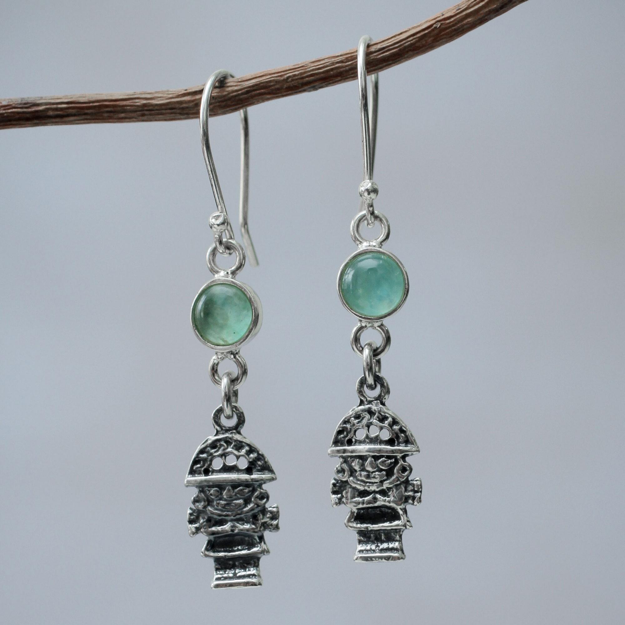 Novica Fluorite dangle earrings, Purple Inca Sparrow