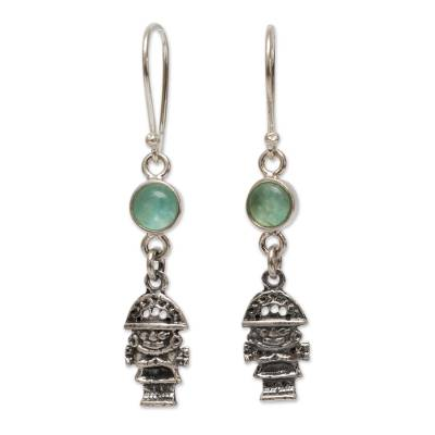 Opal dangle earrings, 'Inca Tumi' - Artisan Crafted Sterling Silver and Opal Hook Earrings
