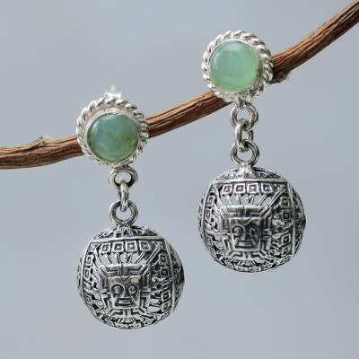Peruvian Sterling Silver Hook Earrings with Opals