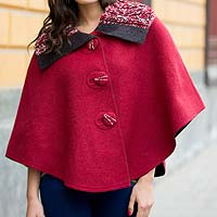 Reversible 100% alpaca ruana cape, 'Cuzco Color' - Andean Reversible Red and Grey 100% Alpaca Short Ruana Cape