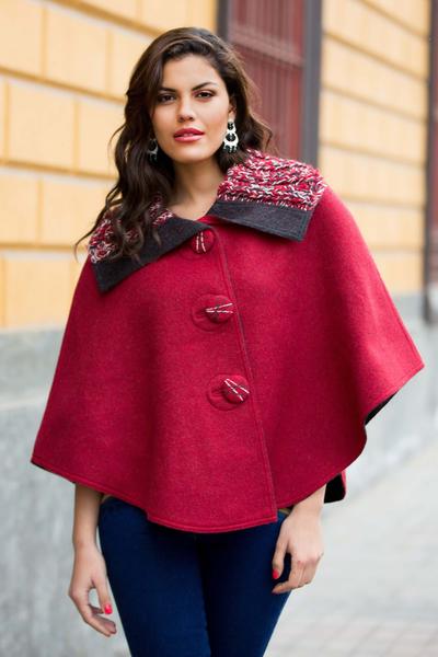 Reversible 100% alpaca ruana cape, 'Cuzco Color' - Andean Reversible Red and Grey 100% Alpaca Short Ruana Cape