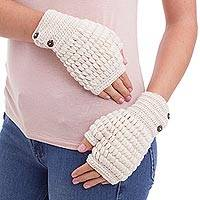 100% alpaca fingerless mitts, 'Andean Peaks' - Hand Crocheted Alpaca Fingerless Mittens with Coconut Shell