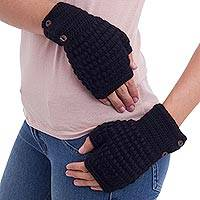 100% alpaca fingerless mitts, 'Black Andean Peaks' - Hand Knit Fingerless Mittens Alpaca with Coconut Shell
