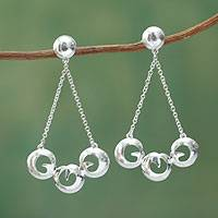 Sterling silver chandelier earrings, 'Triple Swirl' - Artisan Crafted Textured Silver Chandelier Earrings