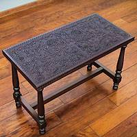 Mohena wood and leather table, 'Colonial Bloom' - Colonial Style Mohena Wood and Leather Hand Crafted Table