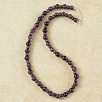 Amethyst and ceramic beaded necklace, 'Andean Berries' - Artisan Crafted Amethyst and Ceramic Beaded Necklace