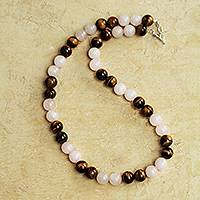 Rose quartz and tiger's eye beaded necklace, 'Andean Love' - Handmade Rose Quartz and Tiger's Eye Beaded Necklace
