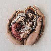 Cedar relief panel, 'In God's Hands' - Peruvian Hand Carved Holy Family Cedar Wall Sculpture
