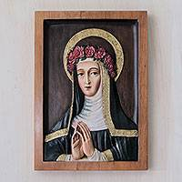 Cedar relief panel, 'Saint Rose of Lima' - Bronze Leaf Cedar Hand Carved Relief Panel St Rose of Lima