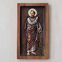 Cedar relief panel, 'Saint Peter' - Gilded Hand Carved Cedar Relief Panel of Saint Peter