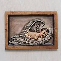 Cedar relief panel, 'Sleeping Angel' - Little Boy Angel Cedar Relief Panel Carving from Peru