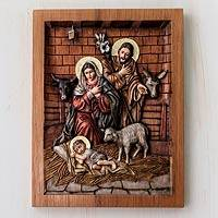 Cedar relief panel, 'In a Stable in Bethlehem' - Artisan Crafted Cedar Wood Nativity Scene Relief Sculpture
