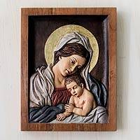 Cedar relief panel, 'Sleepy Baby Jesus' - Gilded Hand Carved Relief Panel of Virgin and Child