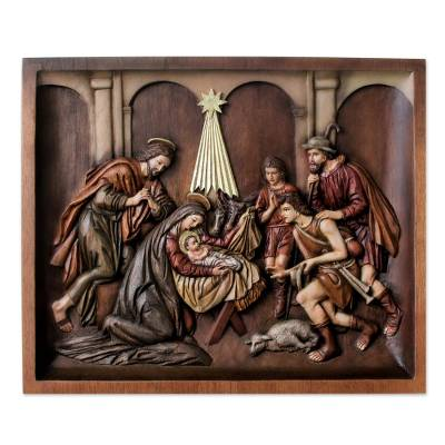 Handcrafted Cedar Wood Nativity Scene Relief Sculpture