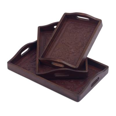 Mohena and leather trays, 'Floral Melody' (set of 3) - Artisan Crafted Leather and Wood Serving Trays (Set of 3)