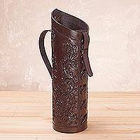 Leather wine bottle holder, 'Colonial Ivy'