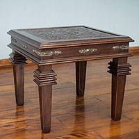 Mohena wood and leather accent table, 'Strong Hold' - Mohena Wood and Embossed Leather Table with Wrought Iron